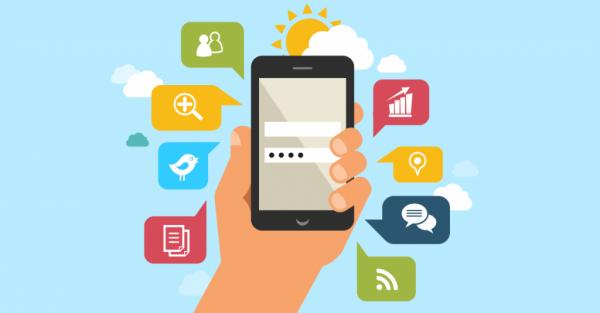 smartphone stilizzato con notifiche