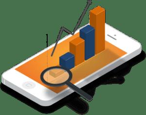 smartphone stilizzato con grafici