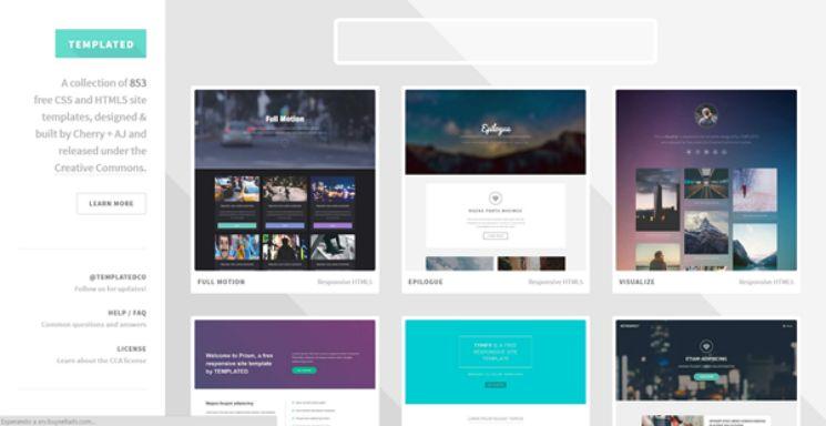 schermata sito per template