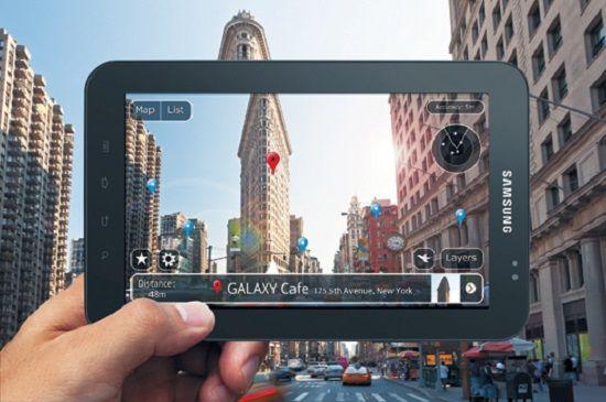tablet Samsung inquadrando città