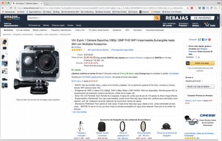Pagina esempio di Amazon - deep linking