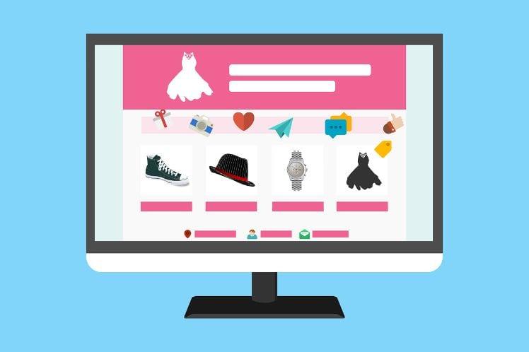 disegno di pc con e-commerce