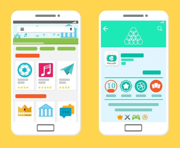 disegno di due smartphone ed applicazioni