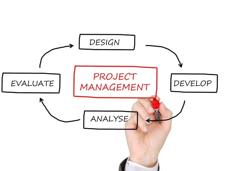 mano disegnando fasi project management