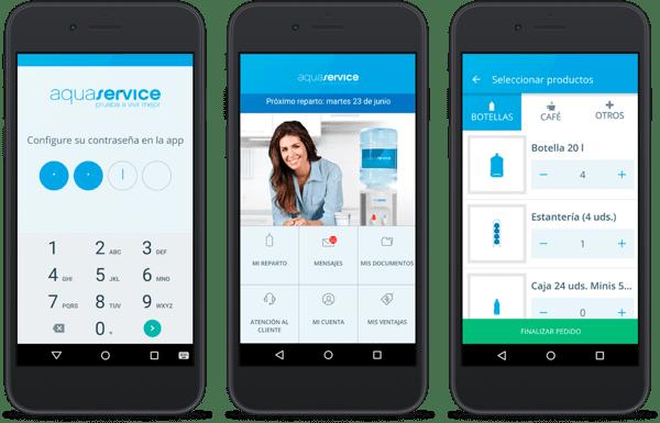 tre smartphone con app Aquaservice