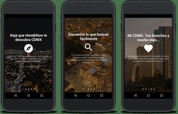 tre smartphone con applicazione