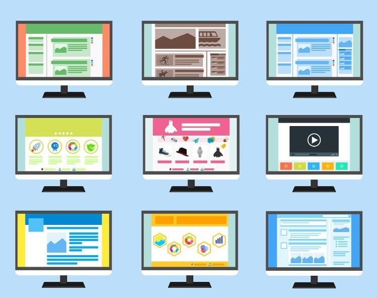 immagine di tanti computer con siti web