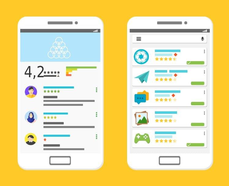 disegno smartphone con app store