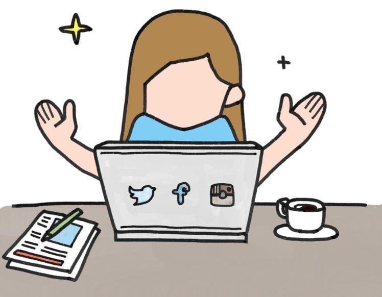 copertura mediatica - social - laptop