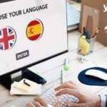 pagina web con opzione scegli lingua