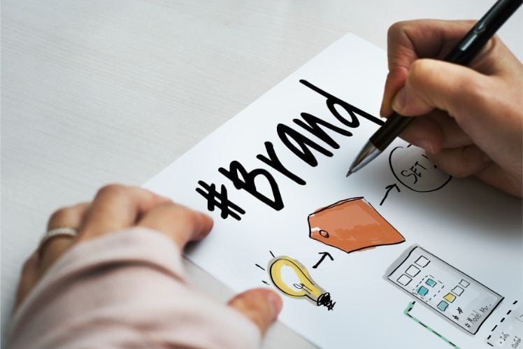 mani scrivendo branding e disegnando