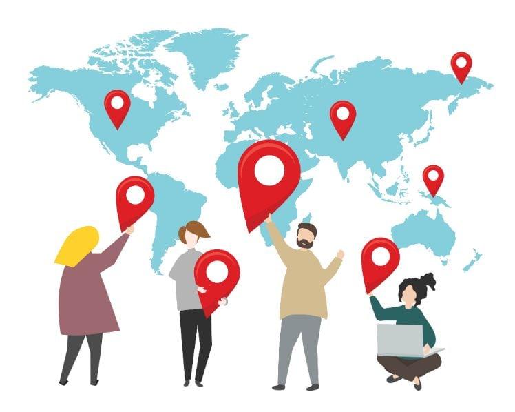 illustrazione con persone e mappa del mondo