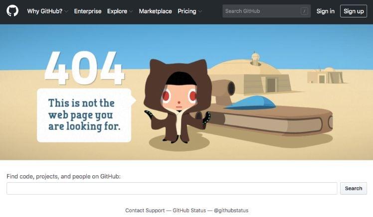 esempio errore 404 screenshot - esperienza utente